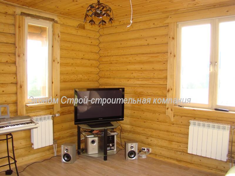 Фото интерьера деревянного дома из оцилиндрованного бревна 178